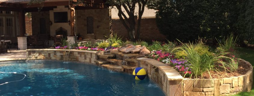pool landscape with stacked stone